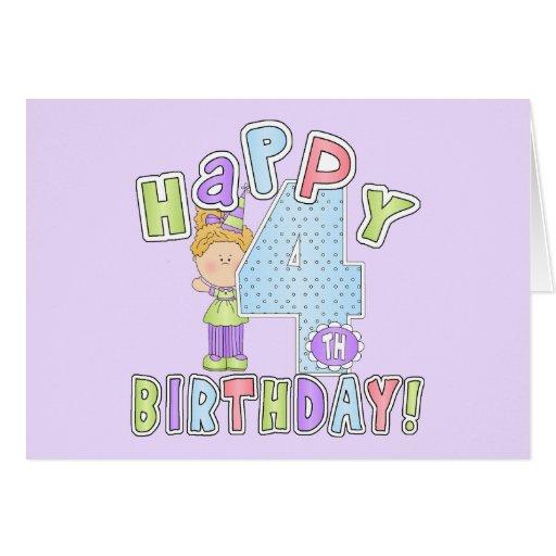 Cumpleaños feliz de los chicas 4to tarjeta de felicitación