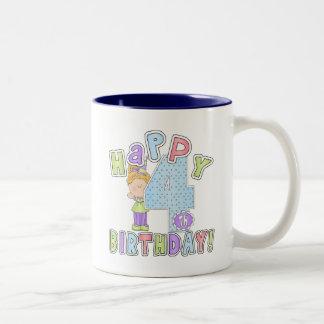 Cumpleaños feliz de los chicas 4to taza dos tonos