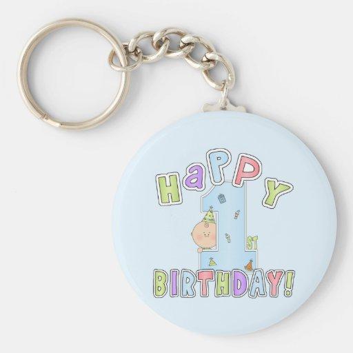Cumpleaños feliz de los muchachos 1r llavero personalizado