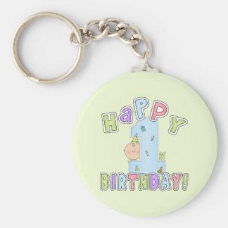 Cumpleaños feliz de los muchachos 1r llavero redondo tipo pin