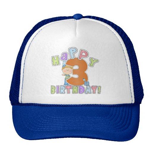 Cumpleaños feliz de los muchachos 3ro gorras