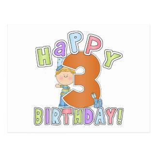 Cumpleaños feliz de los muchachos 3ro tarjeta postal