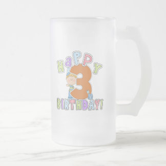 Cumpleaños feliz de los muchachos 3ro taza de cristal
