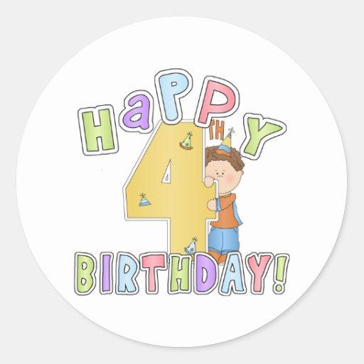 Cumpleaños feliz de los muchachos 4to pegatina redonda