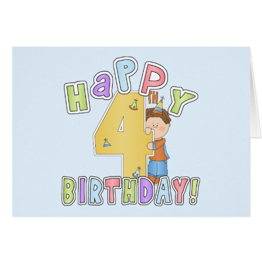 Cumpleaños feliz de los muchachos 4to tarjeta de felicitación