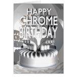 Cumpleaños feliz del cromo tarjetas