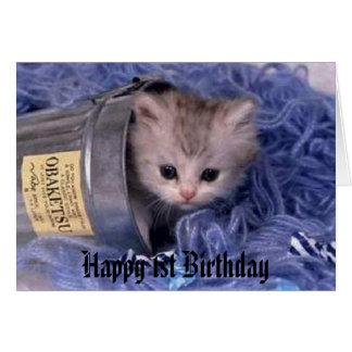 cumpleaños feliz del gatito 1r tarjeta de felicitación
