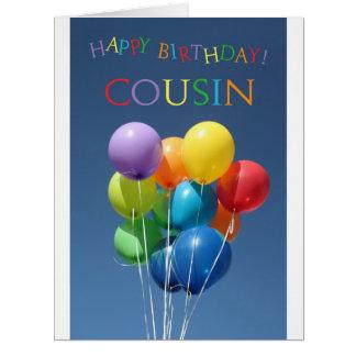 Cumpleaños feliz del globo del primo tarjeta de felicitación grande