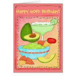 Cumpleaños feliz del Guacamole de Margarita 40.o Tarjeta De Felicitación