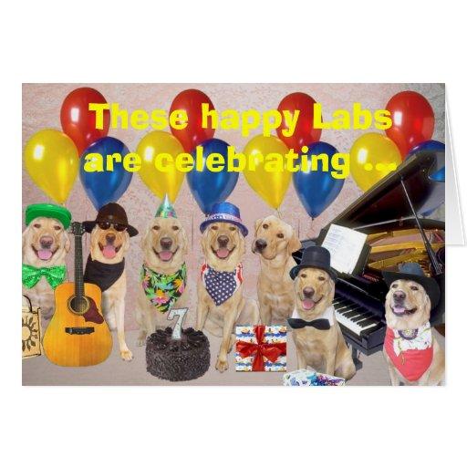 Cumpleaños feliz del laboratorio tarjeta de felicitación