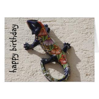 cumpleaños feliz del lagarto tarjeta pequeña