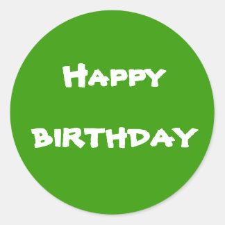 Cumpleaños feliz pegatinas redondas