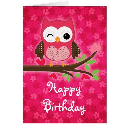 Cumpleaños femenino del búho lindo de las rosas tarjeta de felicitación