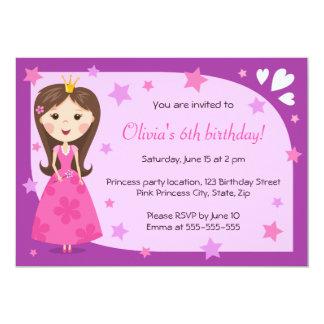 """Cumpleaños femenino lindo púrpura rosado de la invitación 5"""" x 7"""""""