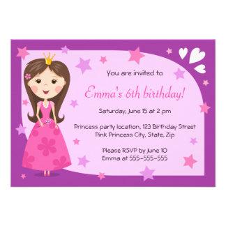 Cumpleaños femenino lindo púrpura rosado de la pri comunicados personales