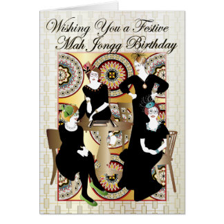 Cumpleaños festivo del Mah Jongg Tarjeta De Felicitación