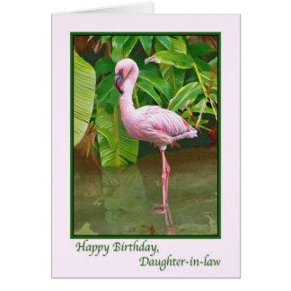 Cumpleaños, flamenco rosado, nuera tarjeta de felicitación