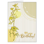 Cumpleaños floral amarillo tarjetón