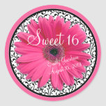 Cumpleaños floral blanco del dulce 16 del negro ro etiqueta