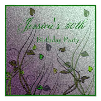 """Cumpleaños floral de la hoja verde Wispy 50.o Invitación 5.25"""" X 5.25"""""""