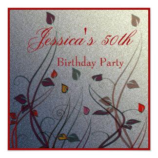 """Cumpleaños floral de la hoja Wispy del otoño 50.o Invitación 5.25"""" X 5.25"""""""