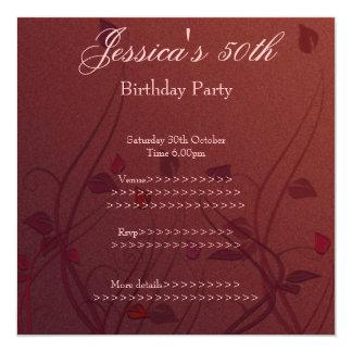 """Cumpleaños floral de la hoja Wispy rosada roja Invitación 5.25"""" X 5.25"""""""