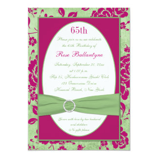 Cumpleaños floral de marfil verde de Borgoña el Invitacion Personalizada