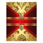 Cumpleaños floral del oro rojo real elegante del d invitación personalizada