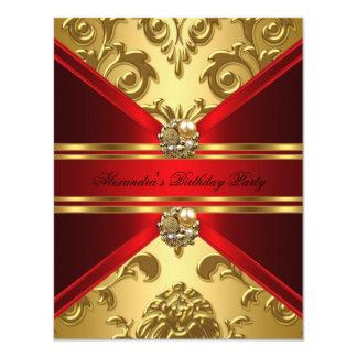 Cumpleaños floral del oro rojo real elegante del invitación 10,8 x 13,9 cm