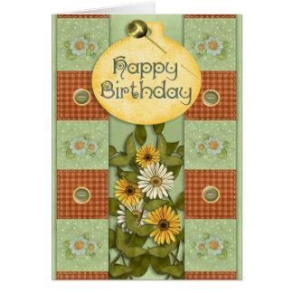 Cumpleaños floral del remiendo felicitación