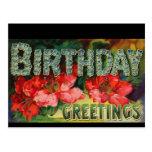 Cumpleaños floral del Victorian del vintage - post Tarjetas Postales