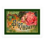 Cumpleaños floral del vintage feliz postal