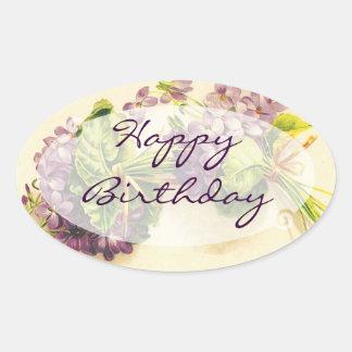 Cumpleaños floral del vintage pegatina ovalada