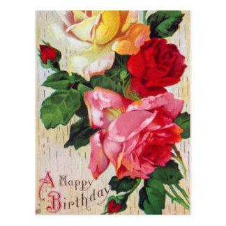 Cumpleaños floral del vintage postal