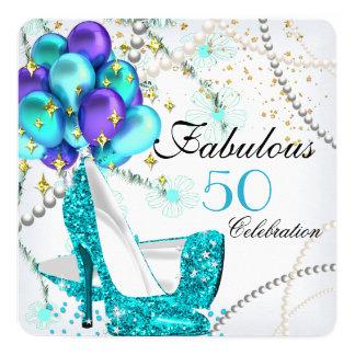 """Cumpleaños floral fabuloso de 50 tacones altos invitación 5.25"""" x 5.25"""""""