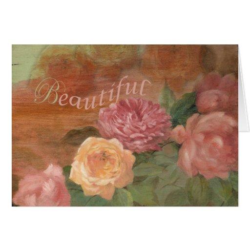 Cumpleaños floral hermoso de la pintura tarjetón