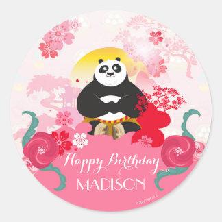 Cumpleaños floral rosado de la panda el   de Kung Pegatina Redonda