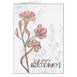 Cumpleaños floral rosado tarjeta