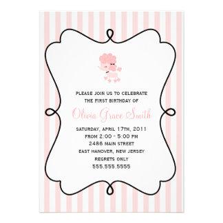Cumpleaños francés rosado del caniche anuncio personalizado