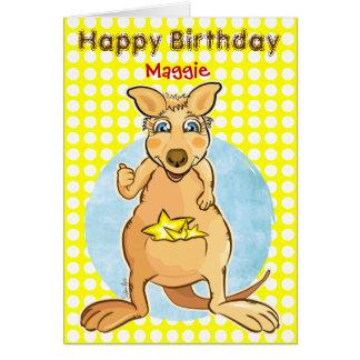 Cumpleaños fresco del canguro - tarjeta de burbuja