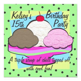 """Cumpleaños fresco del helado invitación 5.25"""" x 5.25"""""""