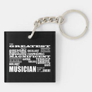 Cumpleaños frescos divertidos de los músicos: El Llavero Cuadrado Acrílico A Doble Cara