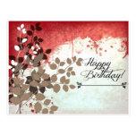 Cumpleaños frondoso del rojo de ladrillo feliz postales