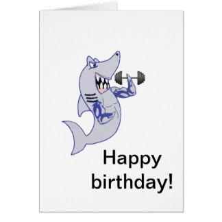 Cumpleaños fuerte del tiburón tarjeta de felicitación