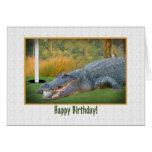 Cumpleaños, golf, tarjeta del cocodrilo