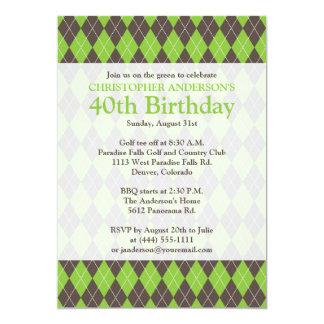 """Cumpleaños Golfing del golf verde de Brown de la Invitación 5"""" X 7"""""""
