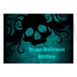 Cumpleaños gótico de Halloween del cráneo de la Tarjeton