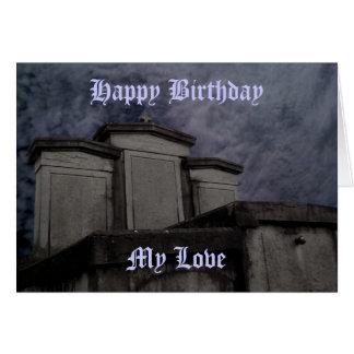 Cumpleaños gótico divertido del cementerio felicitaciones