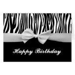 Cumpleaños gráfico de la raya de la cebra y de la  tarjeta