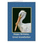 Cumpleaños, grande - abuelo, pelícano blanco felicitación